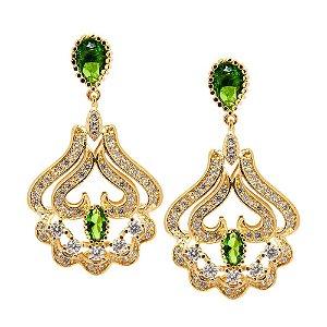 Brinco Semijoia Jaipur Cristal Olivina Cravejado Zircônias Diamond Folheado Ouro 18k BR016