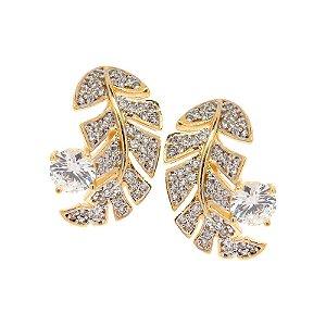 Brinco Semijoia Folha Cravejado Zircônias Diamond Folheado Ouro 18k BR018