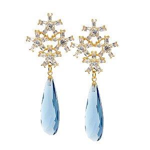 Brinco Semijoia Cristal Topázio Azul Cravejado Zircônias Diamond Folheado Ouro 18k BR021
