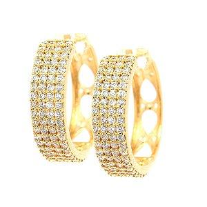 Brinco Semijoia Argola Gotas Cravejado Zircônias Diamond Folheado Ouro 18k BR023