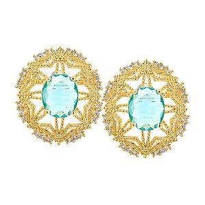 Brinco Semijoia Padma Cristal Água Marinha Cravejado Zircônias Diamond Folheado Ouro 18k BR025