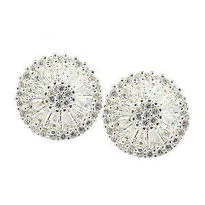 Brinco Semijoia Mandala Cravejado Zircônias Diamond Folheado Prata BR038