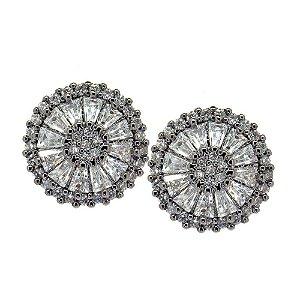Brinco Semijoia Mandala Cravejado Zircônias Diamond Folheado Ródio Negro BR056