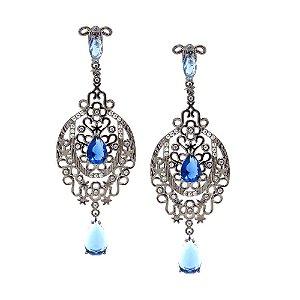 Brinco Semijoia Cristal Azul Light Safira Cravejado Zircônias Diamond Folheado Ródio Negro BR069