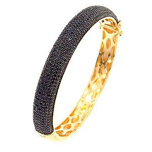 Bracelete Semijoia Hermes Cravejado Zircônias Black Folheado Ouro 18k PU003