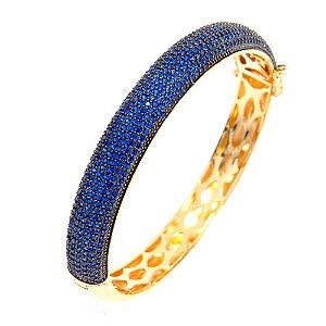Bracelete Semijoia Hermes Cravejado Zircônias Safira Folheado Ouro 18k PU004