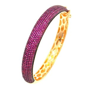 Bracelete Semijoia Hermes Cravejado Zircônias Rubi Folheado Ouro 18k PU006