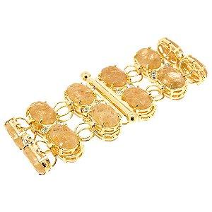 Bracelete Semijoia Hillary Cristal com Inclusão Folheado Ouro 18k PU008