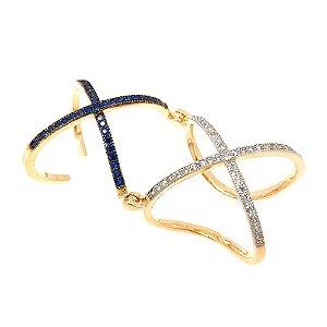 Anel Semijoia X Articulado Cravejado Zircônias Diamond e Safira Folheado Ouro 18k AN051