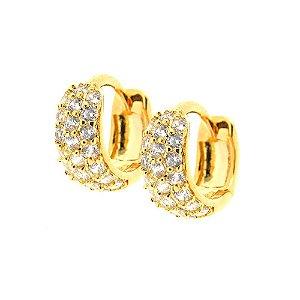 Brinco Semijoia Argola Bombê Cravejado Zircônias Diamond Folheado Ouro 18k BR075