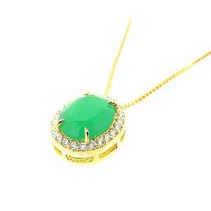 Colar Semijoia Paris Cravejado Zircônias Esmeralda e Diamond Folheado Ouro 18k CL001