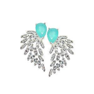 Brinco Semijoia Bird Wing Cravejado Zircônias Azul Tiffany e Diamond Folheado Prata BR081
