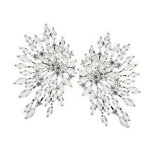 Brinco Semijoia Fairy Brightness Cravejado Zircônias Milk Jade e Diamond Folheado Prata BR089