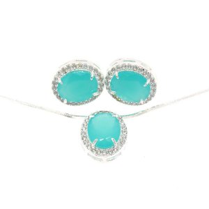Conjunto Semijoia Paris Cravejado Zircônias Azul Tiffany e Diamond Folheado Prata CJ002
