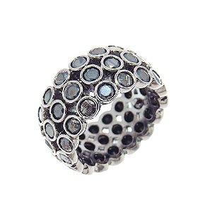 Anel Semijoia Elysium Cravejado Zircônias Black Folheado Ródio Negro AN069