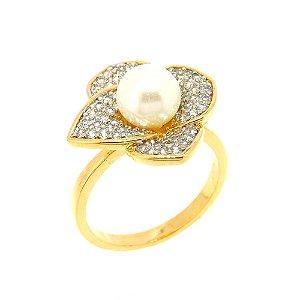 Anel Semijoia Flower Pérola Cravejado Zircônias Diamond Folheado Ouro 18k e Ródio AN075