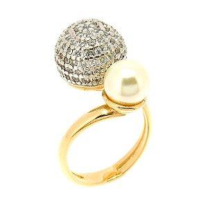 Anel Semijoia Elizabeth Pérola Cravejado Zircônias Diamond Folheado Ouro 18k e Ródio AN076
