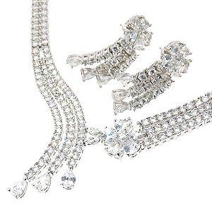 Conjunto Semijoia Grace Zircônias Diamond Folheado Ródio CJ005