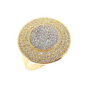Anel Semijóia Claire Cravejado Zircônias Diamond Folheado Ouro 18k AN079