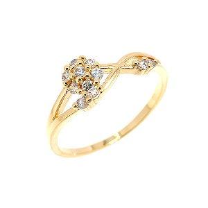 Anel Semijoia Mini Flor Cravejado Zircônias Diamond Folheado Ouro 18k AN082