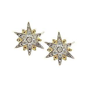 Brinco Semijoia Estrela Polar Cravejado Zircônias Diamond Folheado Ouro 18k BR113