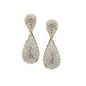 Brinco Semijóia Mini Drop Cravejado Zircônias Diamond Folheado Ouro 18k BR114