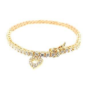 Pulseira Semijóia Riviera Coração Cravejado Zircônias Diamond Folheado Ouro 18k PU013