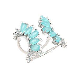 Anel Semijoia Halep Cravejado Zircônias Azul Tiffany Folheado Ródio AN089
