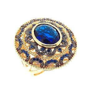 Anel Semijoia Bengali Cristal Safira Cravejado Zircônias Folheado Ouro 18k AN091
