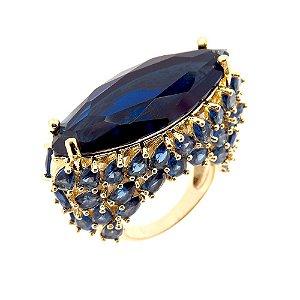 Anel Semijoia Taj Cristal Safira Azul Cravejado Zircônias Folheado Ouro 18k AN093