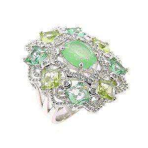 Anel Semijoia New Deli Cristal Multi Green Cravejado Zircônias Folheado Ródio AN102