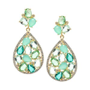 Brinco Semijoia Yoni Cristal Multi Green Cravejado Zircônias Folheado Ouro 18k BR137