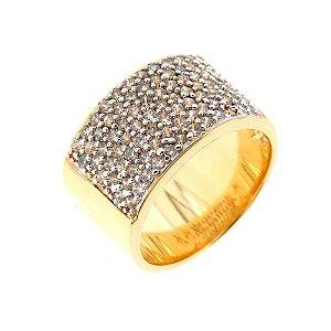 Anel Semijoia Tenace Cravejado Zircônias Folheado Ouro 18k AN118