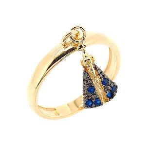 Anel Semijóia Berloque Nossa Senhora Aparecida Cravejado Zircônias Azuis Folheado Ouro 18k AN126