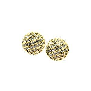 Brinco Semijoia Mini Globe Cravejado Zircônias Folheado Ouro 18k BR147