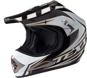 Capacete Texx Speed Mud - Branco com Preto Metálico