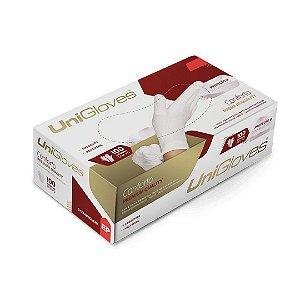 Luva de Látex Sem Pó Conforto Premium Branca 100 Und – UniGloves
