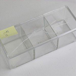 Organizador Acrílico com Divisória Tripla 23 x 9 x 8,5 cm (nº5)