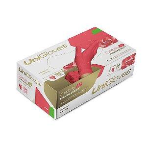 Luva de Látex Sem Pó Conforto Premium Vermelha 100 Und – UniGloves
