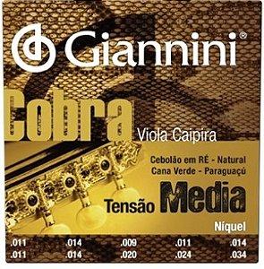 Encordoamento Viola Caipira .011 Giannini Tensão Média GESV