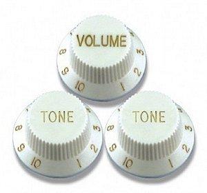 Knob de Guitarra Strato Branco Sonotec (Kit 1 Vol 2 Ton)