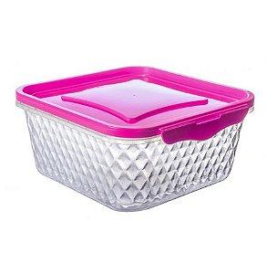 Pote Cristal 1L - Quadrado Rosa
