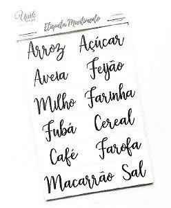 Etiquetas Mantimentos Caligrafia
