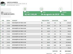 Gerador de Fatura / Orçamento | Modelo 02
