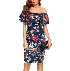 Vestido Off Shoulder Azul Floral