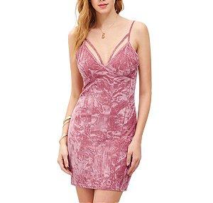 Vestido Veludo Rosa Decote com Tiras