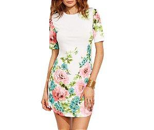 Vestido Branco Floral Manga Curta