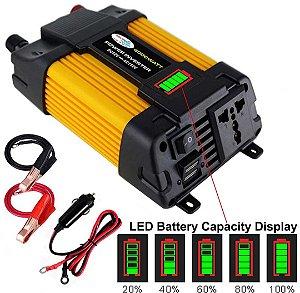 Conversor de voltagem para carro transformador conversor 12v a 110v/220v dupla usb inversor forcar aparelhos