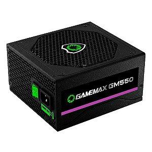 Fonte de alimentação ATX 550W reais 80Plus Bronze Gamemax GM550 com cabo