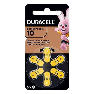 Bateria para aparelhos auditivos 1.45 V Duracell 10 PR70 (Blister com 6)